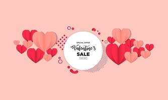 Calm happy valentines day greeting background in papercut realistic style vector