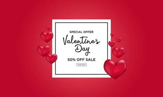 Red Valentines day banner background in realistic style vector
