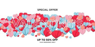 Special offer happy valentines day greeting banner in papercut realistic style vector
