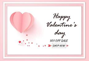 Valentines day sale with balloon heart pattern on white background. Paper art style. vector