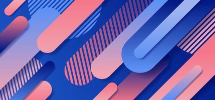 Abstract blue and pink geometric rounded line diagonal dynamic overlapping background. vector