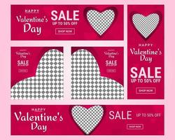 Valentine's social media post set vector