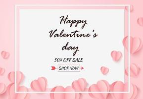 Paper art balloon heart pattern on white background. Valentine's day sale concept. vector