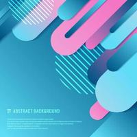 Abstract blue and pink geometric rounded line diagonal dynamic overlapping background vector