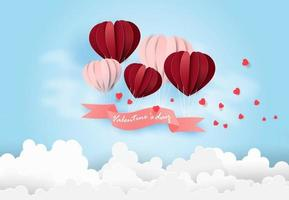 Happy Valentines Day card with Balloons floating in the blue sky. vector