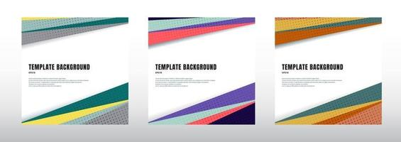 Set of abstract template header and footers colorful geometric triangles design with halftone on white background vector