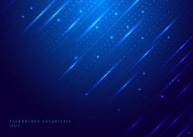 Abstract technology digital futuristic different neon glowing dots particles with lighting on blue background