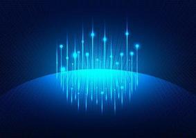 Fondo futurista azul brillante con red social global del planeta