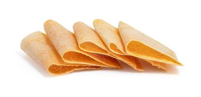 Khanom Buang or Thai crepes on white background