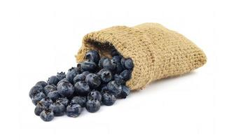 Blueberries in burlap sack on white background photo