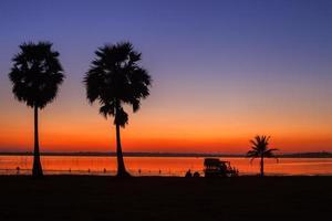 colorido atardecer y siluetas de palmeras foto