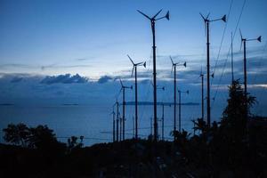 siluetas de árboles y turbinas eólicas. foto