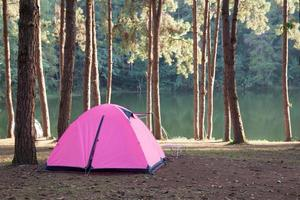 Pink tent on a camping ground photo