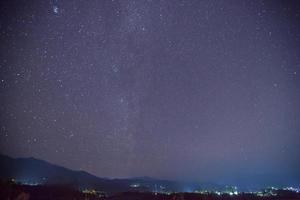 Starry sky over a city