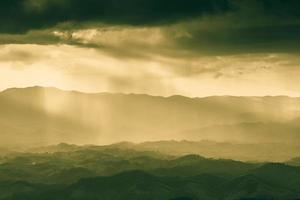 Golden hour on a hazy landscape photo