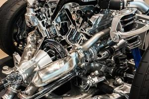 Close-up of an engine of a car photo