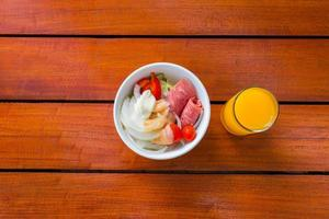 Top view of breakfast in a bowl photo