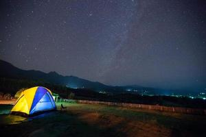 Colorful tent and a starry sky photo