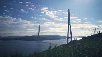 Seascape with A View of The Russian Bridge in Vladivostok, Russia