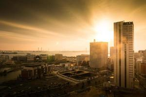 Cityscape view at golden hour photo