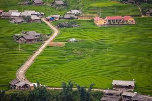vista aérea de un pueblo y campos de arroz