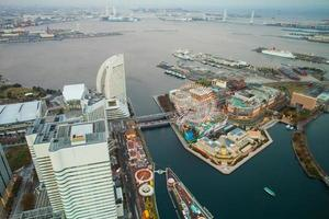Kanagawa, Japan, 2020 - Aerial view of an amusement park in the city
