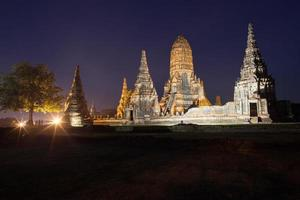 Ban Pom, Thailand, 2020 - Night view of The Wat Chai Watthanaram