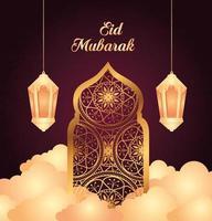 celebración de eid al adha mubarak con linterna colgante y ventana árabe vector