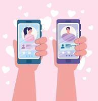 Aplicación de servicio de citas en línea con manos sosteniendo teléfono inteligente vector