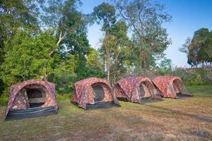 Row of camping tents