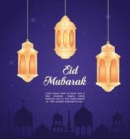 celebración de eid al adha mubarak con linternas colgando vector