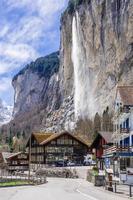 View of touristic alpine village Lauterbrunnen, Switzerland