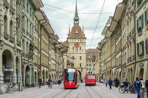 Street view on Kramgasse in Bern, Switzerland