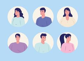 young people in circular frame on blue background vector
