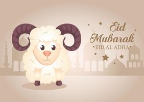 Eid al adha mubarak celebration with sheep vector