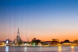 Bangkok, Thailand, 2020 - Long-exposure of lights and The Wat Arun at night
