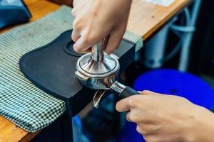 primer plano, de, hacer café