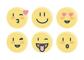 set of yellow emojis vector