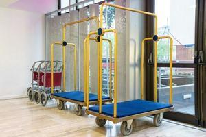 Hotel luggage carts or baggage trolleys