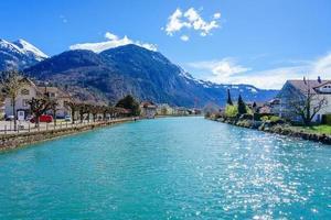 Old town and Interlaken lake canal, Switzerland photo