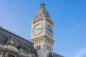 Clock tower of of Station Gare de Lyon in Paris, France