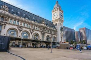 Exterior view of the historic Gare de Lyon train station in Paris, France