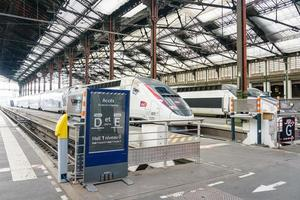 Trains in the historic Gare de Lyon station, Paris photo