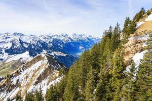 View on beautiful Swiss Alps as seen from Mount Stanserhorn, Switzerland