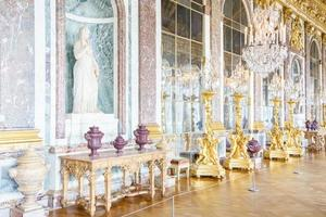 The Hall of Mirrors of the Royal Palace of Versailles in France