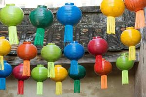 Colorful lanterns hanging from the roof