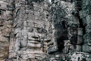 Antiguos rostros de piedra del templo de Bayon, Angkor Wat, Siam Reap, Camboya
