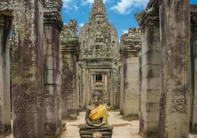 Ruins of Bayon temple, Angkor Wat, Siam Reap, Cambodia photo