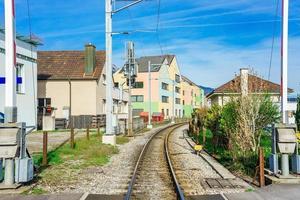 Ferrocarril en Stanserhorn en Suiza