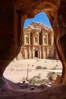 View from a cave of the Ad Deir, Monastery in the ancient city of Petra, Jordan